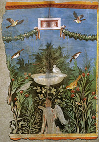 Birds and fountain within a garden setting, with oscilla (hanging masks) above, in a painting from Pompeii
