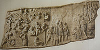 Relief panel from Trajan's Column showing the building of a fort and the reception of a Dacian embassy