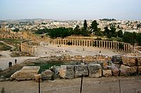 Forum of Gerasa (Jerash in present-day Jordan), with columns marking a covered walkway (stoa) for vendor stalls, and a semicircular space for public speaking