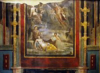 The Wedding of Zephyrus and Chloris (54–68 AD, Pompeian Fourth Style) within painted architectural panels from the Casa del Naviglio