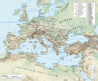 The Roman empire under Hadrian (ruled 117–138) showing the location of the Roman legions deployed in 125 AD