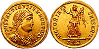 Solidus issued under Constantine II, and on the reverse Victoria, one of the last deities to appear on Roman coins, gradually transforming into an angel under Christian rule