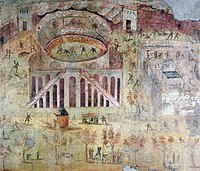 Wall painting depicting a sports riot at the amphitheatre of Pompeii, which led to the banning of gladiator combat in the town