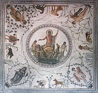 The Triumph of Neptune floor mosaic from Africa Proconsularis (present-day Tunisia), celebrating agricultural success with allegories of the Seasons, vegetation, workers and animals viewable from multiple perspectives in the room (latter 2nd century)