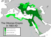 The Ottoman Empire in 1683 at its greatest extent, under Sultan Mehmed IV