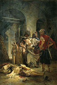 The Bulgarian martyresses (1877) by Konstantin Makovsky, a Russian propaganda painting which depicts the rape of Bulgarian women by the bashi-bazouks during the April Uprising, with the purpose of mobilising public support for the Russo-Turkish War (1877–78).  Unrestrained by the laws that governed regular soldiers in the Ottoman Army, the bashi-bazouks became notorious for preying on civilians.