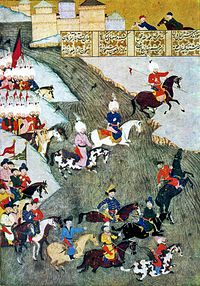 Ottoman miniature about the Szigetvár campaign showing Ottoman troops and Tatars as avant-garde