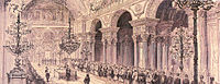 Opening ceremony of the First Ottoman Parliament at the Dolmabahçe Palace in 1876. The First Constitutional Era lasted for only two years until 1878. The Ottoman Constitution and Parliament were restored 30 years later with the Young Turk Revolution in 1908.