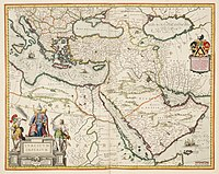 """A Dutch map from 1635, referring to as """"Turkish Empire"""" (TVRCICVM IMPERIVM) to the Ottoman Empire."""