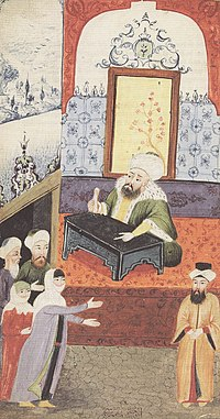 An unhappy wife complains to the Qadi about her husband's impotence as depicted in an Ottoman miniature