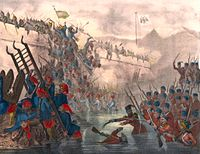 Ottoman troops storming Fort Shefketil during the Crimean War of 1853–1856