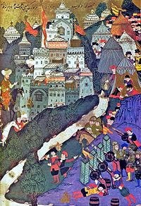 The Battle of Nicopolis in 1396; painting from 1523