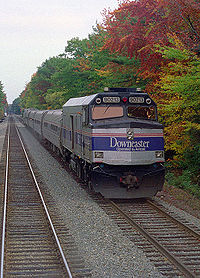 A southbound Downeaster passenger train at Ocean Park, Maine, as viewed from the cab of a northbound train