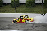 Harvick doing a burnout at Pocono after winning the race there in 2011
