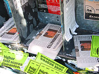 """Headlines of Gray Davis's defeat in UC Berkeley's newspaper, the Daily Californian. The paper's headlines read """"Davis Terminated"""", a reference to one of then governor-elect Arnold Schwarzenegger's movie characters, The Terminator."""