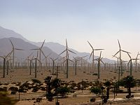 Windmill field outside Palm Springs. Hot temperatures were thought to be pushing California to rolling blackouts, though it was later discovered that market manipulation was the cause.