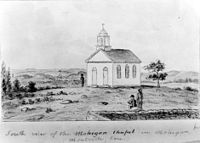 """South View of Mohegan Chapel, Monhegan in Montville, a sketch by John Warner Barber for his Historical Collections of Connecticut (1836). According to the Connecticut Historical Society, the chapel was constructed in 1831 with funds from """"benevolent ladies in Norwich, Hartford and New London"""" as a church for Mohegan and white residents of the reservation in Montville."""