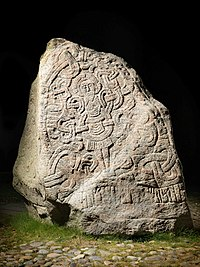 Larger of the two Jelling stones, raised by Harald Bluetooth