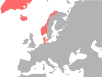 Extent of the Dano-Norwegian Realm. After the Napoleonic Wars, Norway was ceded to Sweden while Denmark kept the Faroe Islands, Iceland and Greenland.