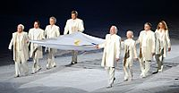 Murray (third from left) was one of 8 notable Canadians to carry the Olympic Flag at the 2010 Olympic Opening Ceremonies