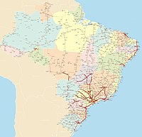 Road system in Brazil, with divided highways highlighted in red.