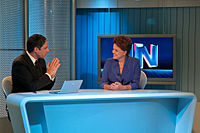 Former President Dilma Rousseff at Jornal Nacional news program. Rede Globo is the world's second-largest commercial television network.