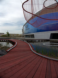 Exterior of the Richmond Olympic Oval with Water Sky Garden sculpture by artist Janet Echelman