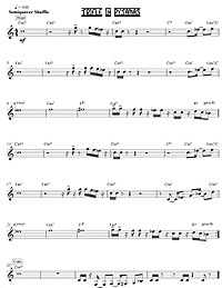 """The lead sheet for the song """"Trifle in Pyjamas"""" shows only the melody and chord symbols. To play this song, a jazz band's rhythm section musicians would improvise chord voicings and a bassline using the chord symbols. The lead instruments, such as sax or trumpet, would improvise ornaments to make the melody more interesting, and then improvise a solo part."""