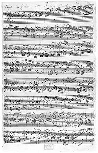 A page from the autograph score of Fugue No. 17 in A major from J.S. Bach's The Well-Tempered Clavier.