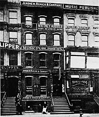 Buildings of New York City's Tin Pan Alley music publishing district in 1910.