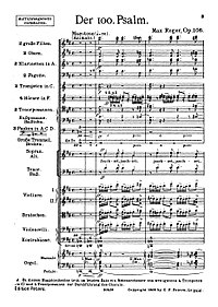 The first page of the full score for Max Reger's Der 100. Psalm for choir, orchestra and organ.