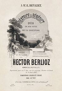 The title page for the first-edition vocal score for Hector Berlioz's Béatrice et Bénédict.