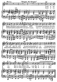"""The sheet music for the song """"Oregon, My Oregon""""."""