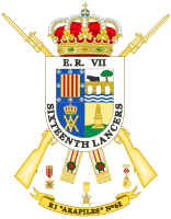 """Armorial achievement of the Spanish Army 62nd Regiment of Infantry """"Arapiles"""". King Edward's cypher and the name of the British Army unit that played a prominent role in the Battle of Salamanca were added at the beginning of the Peninsular War Centenary (1908)."""