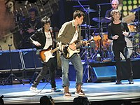 Mayer on stage with The Rolling Stones at the Prudential Center, New Jersey, December 13, 2012