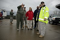 Capito surveys safe drinking water with a FEMA contingent and U.S. Air Force Col. Jerome Gouhin.