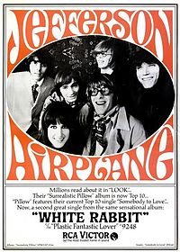 """Poster for Jefferson Airplane's song """"White Rabbit"""", which describes the surreal world of Alice in Wonderland"""