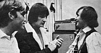 Producer Terry Melcher in the studio with the Byrds' Gene Clark and David Crosby, 1965