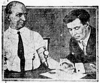 William Marston (right) in 1922, testing his lie detector invention