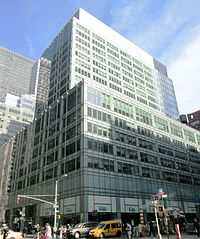 The Hippodrome Building, built in 1951-52, at 1120 Avenue of the Americas (Sixth Avenue), designed by Kahn & Jacobs