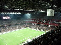 San Siro Stadium, home of A.C. Milan and Inter Milan, has a capacity of 80,000. It is Italy's biggest stadium.