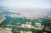 The Monza Formula One circuit is located near the city, inside a suburban park.