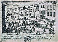Milan during the plague of 1630: plague carts carry the dead for burial.