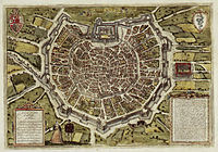 The late 16th-century city encircled by the Spanish walls.
