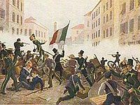 """Popular print depicting the """"Five Days"""" uprising against Austrian rule."""