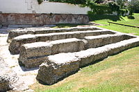 The remains of the Milan amphitheatre, which can be found inside the archaeological park of the Antiquarium in Milan.