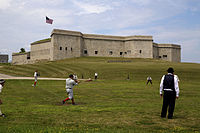 Thames Baseball club playing at Fort Trumbull in New London, CT