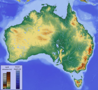 Topographic map of Australia. Dark green represents the lowest elevation and dark brown the highest