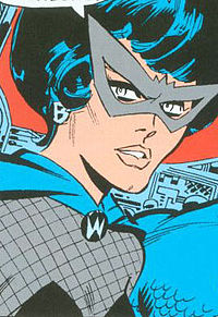 First costume (and bouffant hairdo). From The Avengers #36 (Jan. 1967), art by Don Heck.