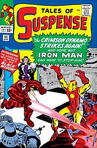 Tales of Suspense #52 (April 1964), the debut of Black Widow. Cover art by Jack Kirby and Paul Reinman